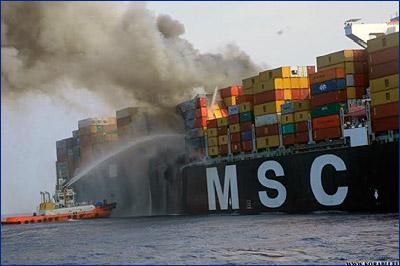 Возгорание на борту «MSC Daniela» до сих пор не потушено