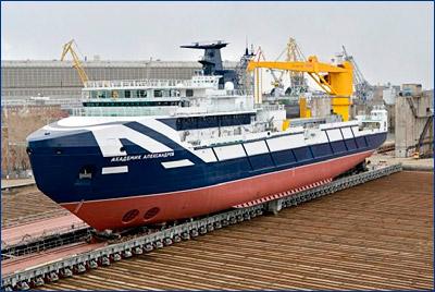 Спущено на воду океанографическое исследовательское судно «Академик Александров»