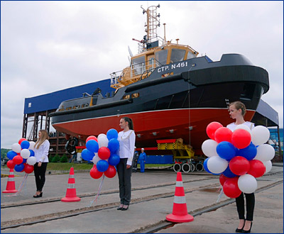 На Ленинградском СЗ «Пелла» осуществлен спуск на воду рейдового буксира проекта 04690