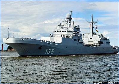 Новейший большой десантный корабль «Иван Грен» завершает заводские ходовые испытания