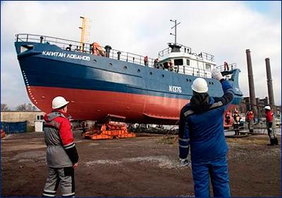Модернизированный траулер «Капитан Лобанов» спущен на воду в Калининградской области