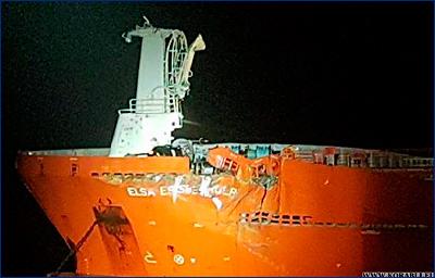 Танкер «Elsa Essberger» столкнулся с нефтяной платформой в Северном море