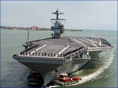 Новейший авианосец USS Gerald R. Ford прервал испытания из-за технических проблем