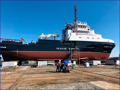 В Астрахани спустили на воду очередной спасательный буксир для ВМФ России
