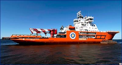ВСЗ вывел на ходовые испытания ледокольное судно обеспечения мощностью 22 МВт «Александр Санников»