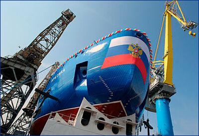 Элементы защиты атомного реактора погружены на строящийся ледокол «Урал» в Петербурге