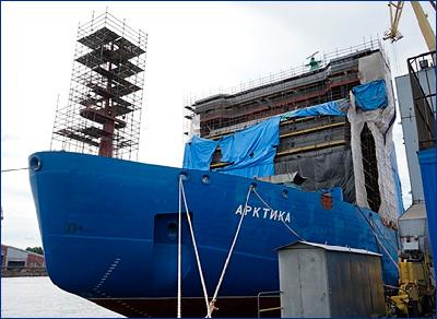 Завершается окраска надстройки атомного ледокола «Арктика» проекта 22220