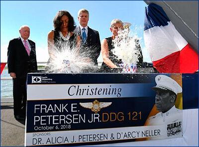 Церемония крещения ракетного эсминца USS Frank E. Petersen Jr. (DDG-121) в Паскагуле