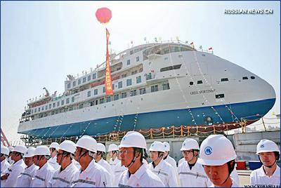 В Китае спустили на воду первый круизный лайнер для полярных экспедиций