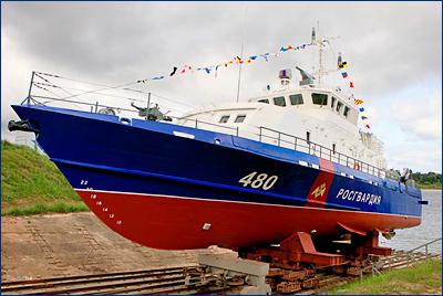 Судзавод «Вымпел» спустил на воду третий из четырех катеров спецназначения «Грачонок» для Росгвардии