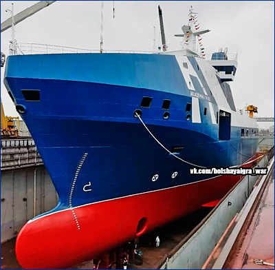 Официальный спуск на воду океанографического исследовательского судна «Академик Агеев»