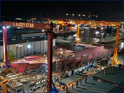 Турецкий завод «Kuzey Star» собирает на стапеле второй железнодорожный паром «Генерал Черняховский»
