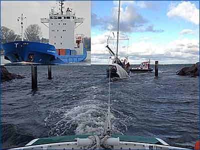 Столкновение сухогруза Михаил Ломоносов с британской яхтой Mohican Too